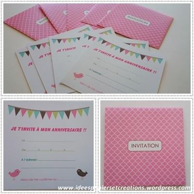 cartons d'invitations petite fille